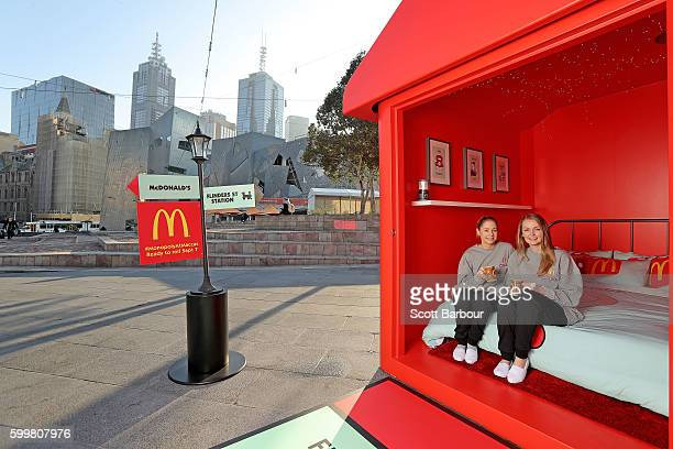 McDonalds superfans Laura Paton and Emma Kendrick relax in McDonalds Monopoly Hotel at Federation Square on September 7 2016 in Melbourne Australia...