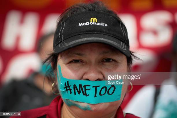 McDonald's workers are joined by other activists as they march toward the company's headquarters to protest sexual harassment at the fast food...