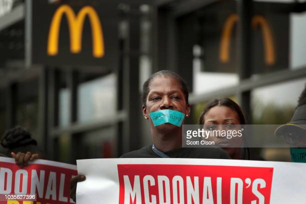 McDonald's workers joined by other activists protest sexual harassment at the fastfood chain's restaurants outside of the company's headquarters on...