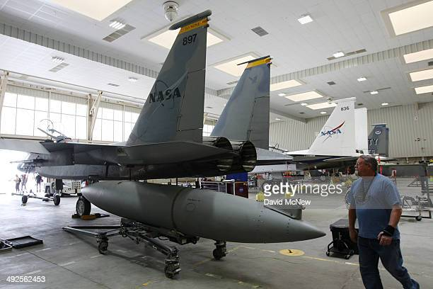 McDonnell Douglas F15D Eagles are seen on May 20 2014 on Edwards Air Force Base California NASA provided a behindthescenes tour of the NASA Armstrong...