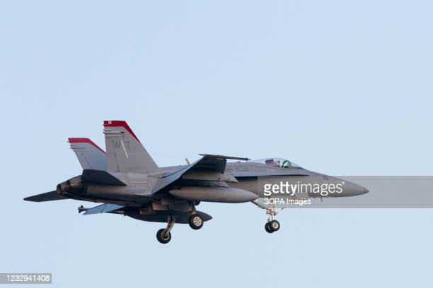 McDonnell Douglas F/A-18c Hornet with the Marine Fighter Attack Squadron 232 known as The Red Devils flies near NAF Atsugi airbase in Kanagawa.