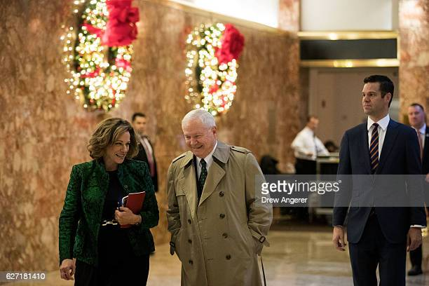 KT McFarland and former US Secretary of Defense Robert Gates arrive at Trump Tower December 2 2016 in New York City Presidentelect Donald Trump and...
