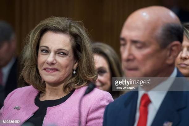 T McFarland left nominee to be ambassador to Singapore and Robert Wood Johnson IV nominee to be ambassador to the United Kingdom attend their Senate...