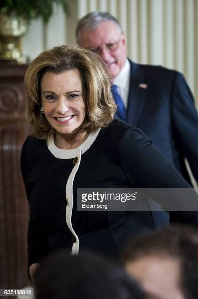 KT McFarland US deputy national security advisor arrives before a news conference with US President Donald Trump and Benjamin Netanyahu Israeli's...