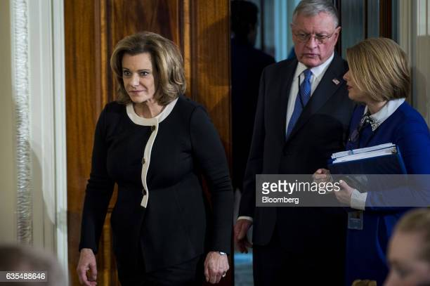KT McFarland US deputy national security advisor left arrives for a news conference with US President Donald Trump and Benjamin Netanyahu Israeli's...