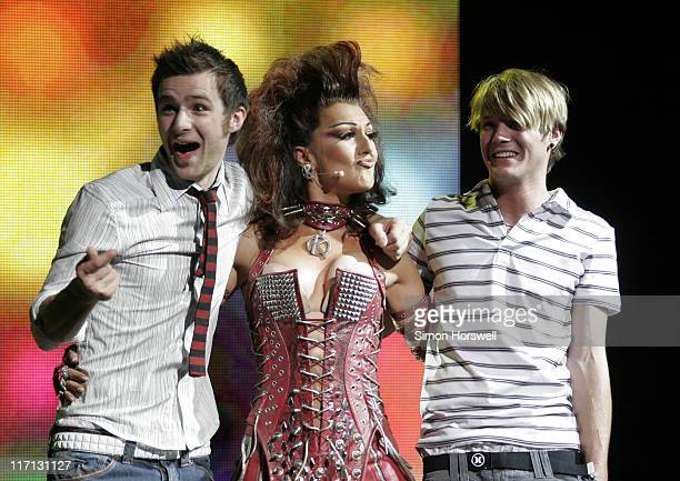 McFly and Mazz Murray as the Killer Queen during We Will Rock You Charity Performance to Celebrate Freddie Murcury's 60th Birthday at The Dominion...
