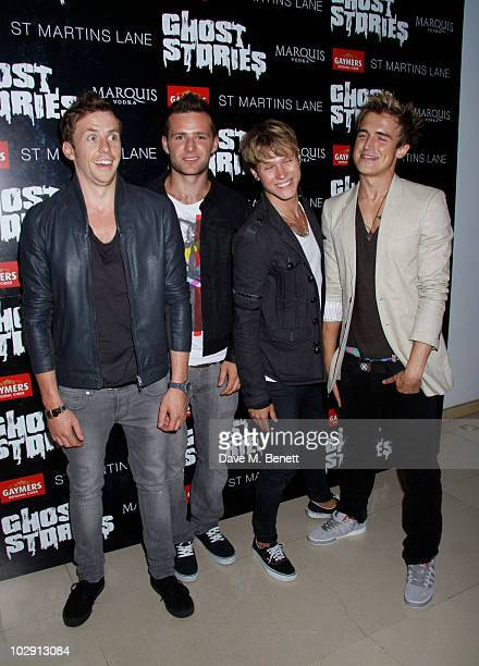 McFly band members Tom Fletcher Danny Jones Dougie Poynter and Harry Judd attend the Ghost Stories Press Night Party held on July 14 2010 at the St...