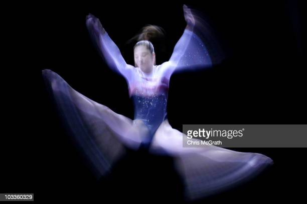 McKayla Maroney competes on the beam during the Junior Women's competition on day two of the 2010 Visa Gymnastics Championships at the XL Arena on...