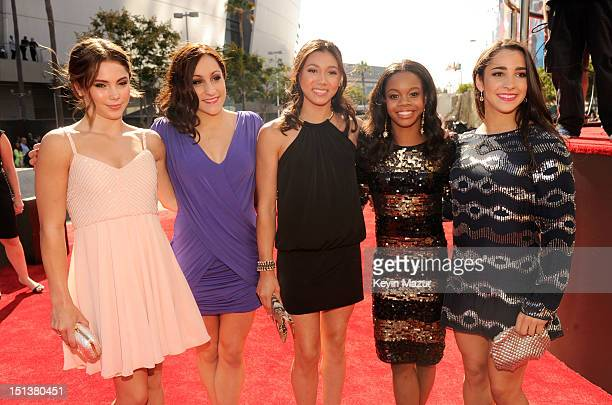 McKayla Maroney Jordyn Wieber Kyla Ross Gabby Douglas and Alexandra Raisman arrive at the 2012 MTV Video Music Awards at Staples Center on September...