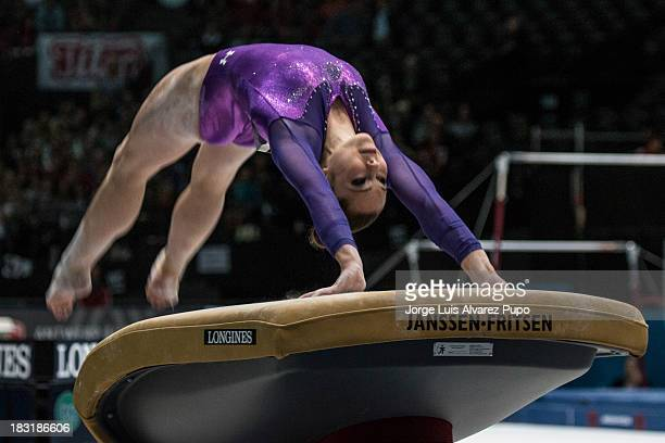 McKayla Maroney of USA competes in the Vault Final on Day Six of the Artistic Gymnastics World Championships Belgium 2013 held at the Antwerp Sports...