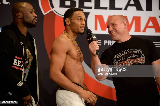J McKee pose for photos at the weighin AJ McKee will be challenging Dominic Mazzotta at Featherweight in Bellator 178 on April 20 2017 at the Mohegan...