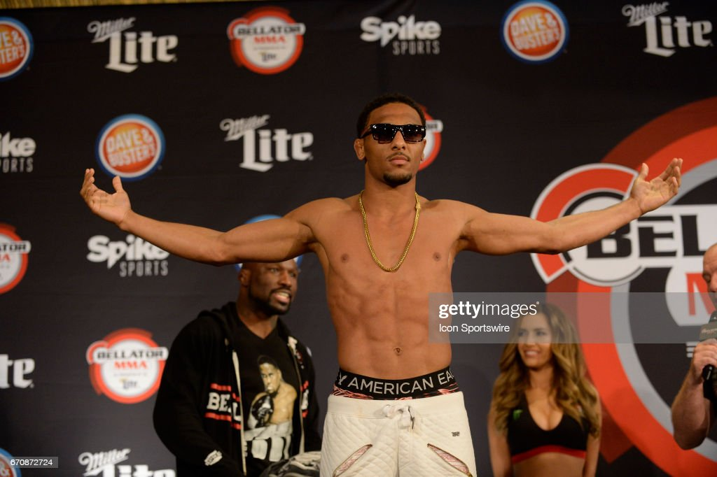 A.J. McKee pose for photos at the weigh-in. A.J. McKee will be challenging Dominic Mazzotta at Featherweight in Bellator 178 on April 20, 2017 at the Mohegan Sun Arena in Uncasville, Connecticut.