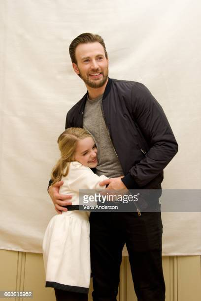 Mckenna Grace and Chris Evans at the Gifted Press Conference at the Four Seasons Hotel on March 31 2017 in Beverly Hills California