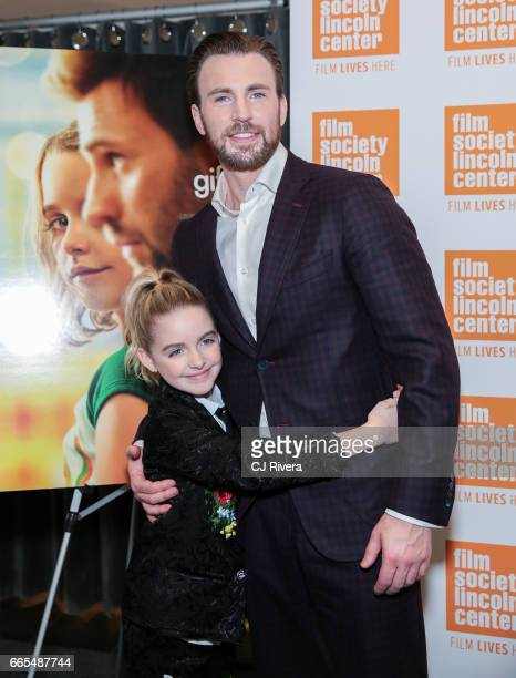 McKenna Grace and Chris Evans attend the New York premiere of the film Gifted at the New York Institute of Technology on April 6 2017 in New York City