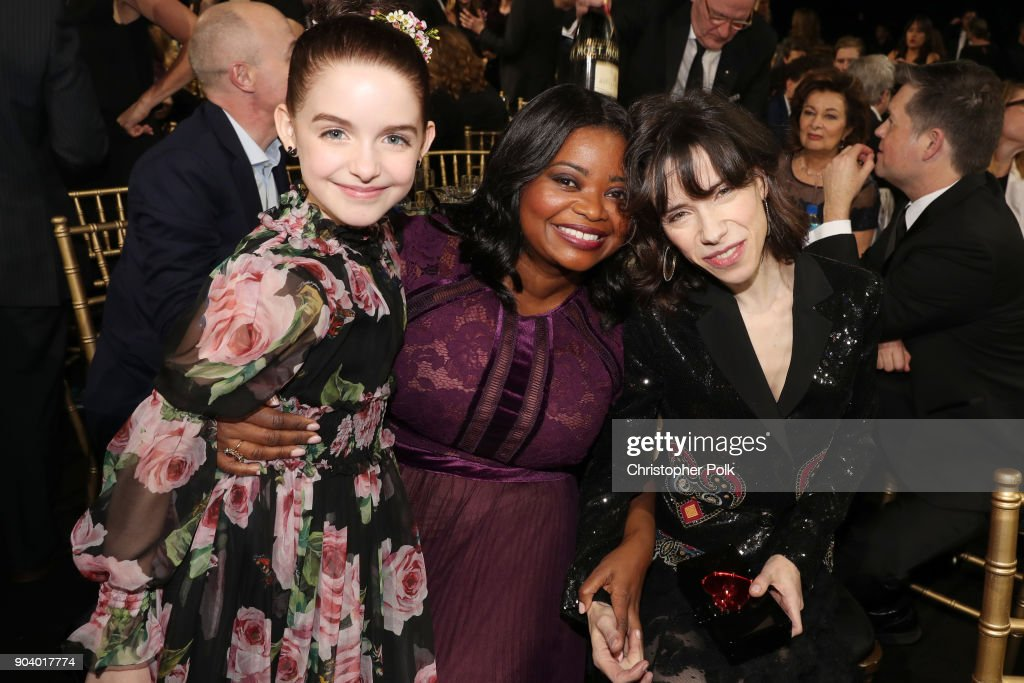 Mckenna Grace, Octavia Spencer, and Sally Hawkins attend The 23rd Annual Critics' Choice Awards at Barker Hangar on January 11, 2018 in Santa Monica, California.