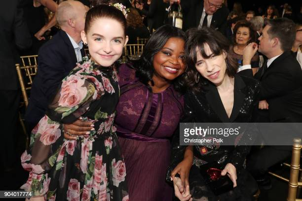 Mckenna Grace Octavia Spencer and Sally Hawkins attend The 23rd Annual Critics' Choice Awards at Barker Hangar on January 11 2018 in Santa Monica...