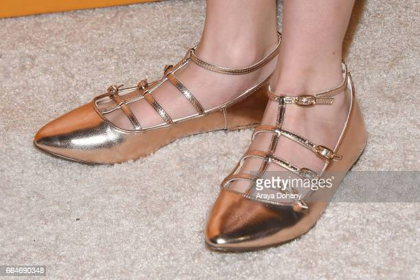 Mckenna Grace shoe detail attends the premiere of Fox Searchlight Pictures' 'Gifted' at Pacific Theaters at the Grove on April 4 2017 in Los Angeles...