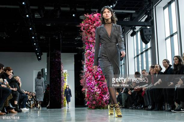 McKenna Hellam walks the runway at Jason Wu Fashion Show during New York Fashion Week The Shows at Gallery I at Spring Studios on February 9 2018 in...