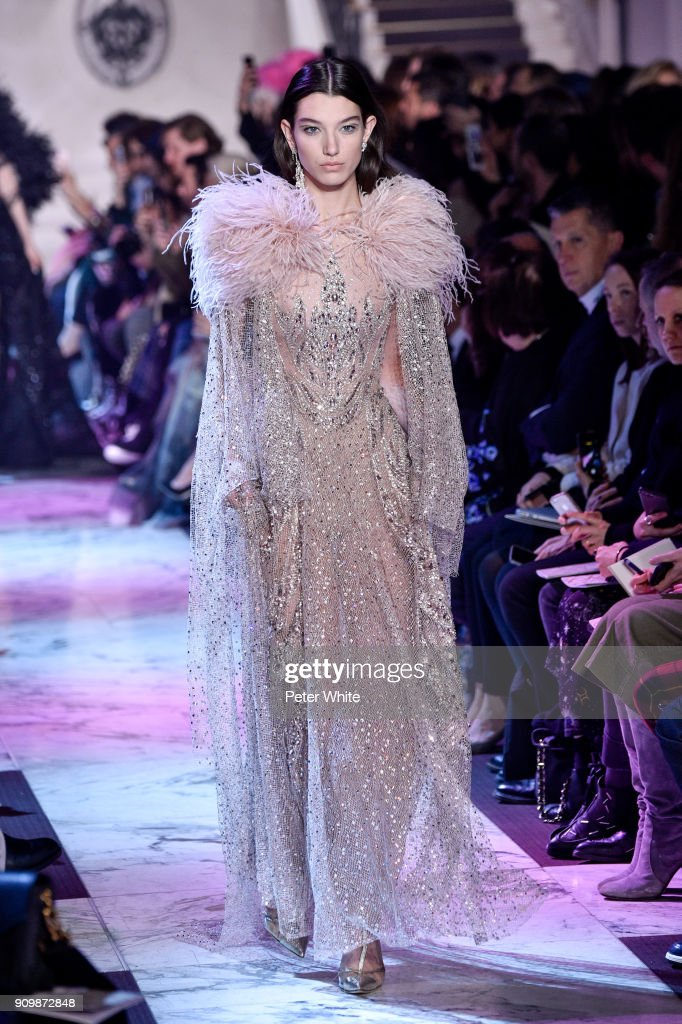 McKenna Hellam walks the runway during the Elie Saab Spring Summer 2018 show as part of Paris Fashion Week on January 24, 2018 in Paris, France.