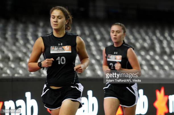 McKenzie Dowrick performs in the 2km time trial during the AFLW Draft Combine at Marvel Stadium on October 3 2018 in Melbourne Australia