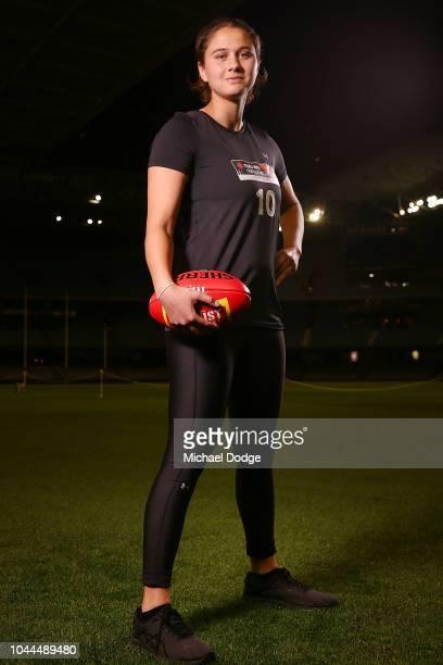 McKenzie Dowrick poses during the AFLW Draft Combine at Etihad Stadium on October 2 2018 in Melbourne Australia