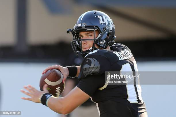 McKenzie Milton of the UCF Knights warms up during a game against the Florida Atlantic Owls at Spectrum Stadium on September 21 2018 in Orlando...