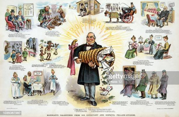 McKinley's valentines from his expectant and hopeful fellowcitizens' President McKinley standing at centre holding a large cornucopia and emitting...