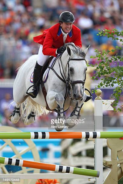 McLain Ward of the United States riding Antares competes in the Individual Jumping Equestrian on Day 12 of the London 2012 Olympic Games at Greenwich...