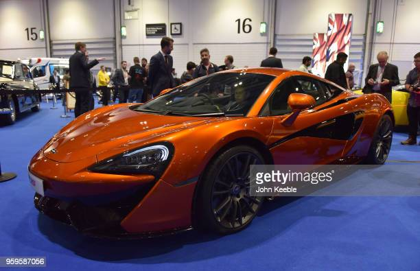 McLaren 570S is displayed as part of the Built in Britain during the London Motor Show at ExCel on May 17 2018 in London England The UK's largest...