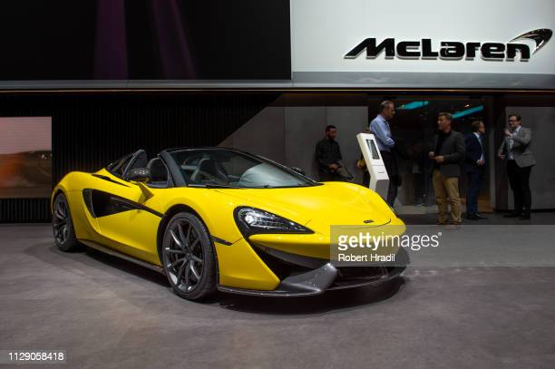McLaren 570S is displayed during the second press day at the 89th Geneva International Motor Show on March 6 2019 in Geneva Switzerland