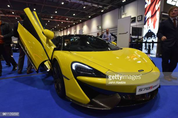 McLaren 570S Spider is displayed as part of the Built in Britain during the London Motor Show at ExCel on May 17 2018 in London England The UK's...