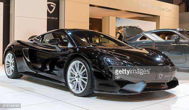 mclaren 570s sports car front view - mclaren 570s stock photos and pictures