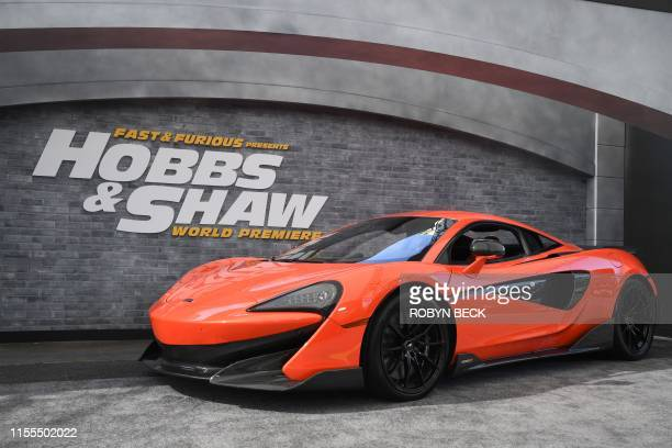 """McLaren 600LT supercar is part of the atmosphere at the world premiere of """"Fast & Furious presents Hobbs & Shaw,"""" at the Dolby Theatre in Hollywood..."""