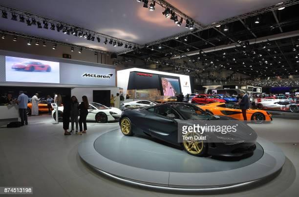McLaren 760S is seen during Dubai Motor Show at Dubai World Trade Centre on November 15 2017 in Dubai United Arab Emirates