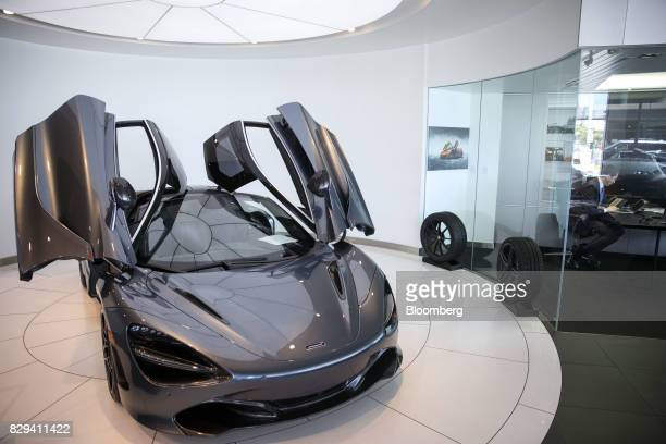 A McLaren Automotive Ltd 720S vehicle is displayed inside the McLaren Newport Beach dealership in Newport Beach California US on Tuesday July 25 2017...