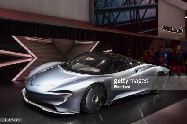 A Mclaren Automotive Ltd Speedtail luxury hypercar sits on display on the opening day of the 89th Geneva International Motor Show in Geneva...