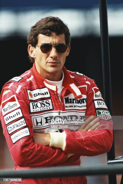 McLaren driver Ayrton Senna of Brazil looks on during a Formula One testing session at Silverstone on July 7, 1992 in Towcester, England. .