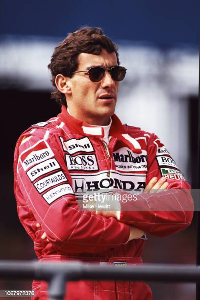 McLaren driver Ayrton Senna of Brazil looks on during a Formula One testing session at Silverstone on July 7 1992 in Towcester England
