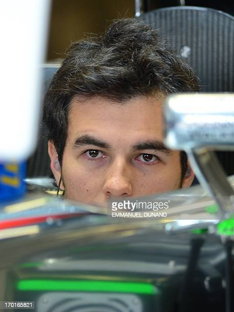 McLaren driver Sergio Perez of Mexico awaits the start of practice in the Canadian Formula One Grand Prix at the Circuit Gilles Villeneuve in...