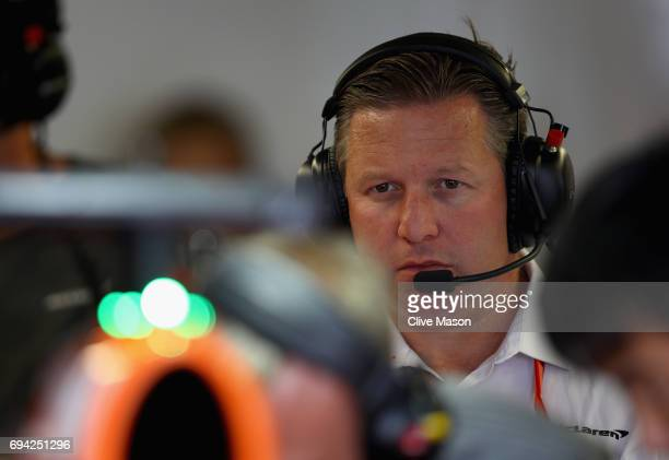 McLaren Executive Director Zak Brown in the garage during practice for the Canadian Formula One Grand Prix at Circuit Gilles Villeneuve on June 9...