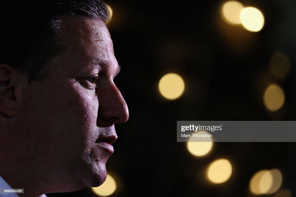 McLaren Executive Director Zak Brown talks to the media in the Paddock during practice for the Bahrain Formula One Grand Prix at Bahrain International Circuit on April 14, 2017 in Bahrain, Bahrain.