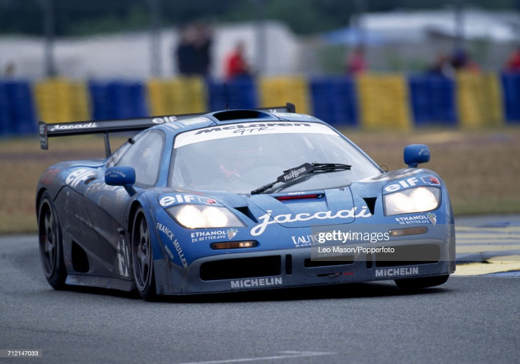 A McLaren F1 GTR, driven to a fifth place finish by Olivier Grouillard (pictured) and Fabien Giroix of France and Jean-Denis Deletraz of Switzerland, for the Giroix Racing Team during the FIA World Challenge for Endurance Drivers 24 Hours of Le Mans race on 18th June 1995 at the Circuit de la Sarthe in Le Mans, France.