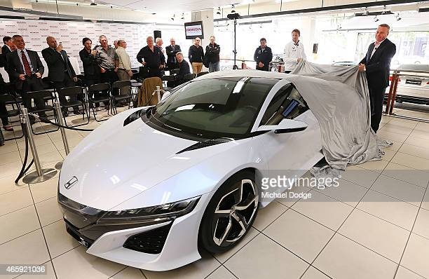 McLaren Honda F1 driver Jenson Button and Honda Australia Director Stephen Collins reveal the NSX concept vehicle at a Honda F1 Grand Prix press...