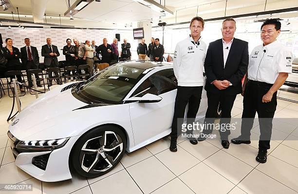 McLaren Honda F1 driver Jenson Button Honda Australia Director Stephen Collins and Yasuhisa Arai, Honda R&D Senior Managing Officer and Chief Officer...