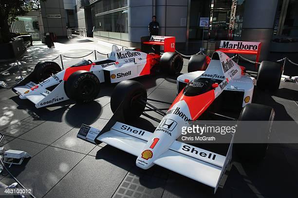 McLaren Honda MP4/5 and McLaren Honda MP/4 are displayed in front of the Honda Motor Co. Headquarters on February 10, 2015 in Tokyo, Japan. Honda...
