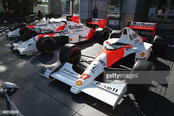 McLaren Honda MP4/5B is displayed in front of the Honda Motor Co. Headquarters on February 10, 2015 in Tokyo, Japan. McLaren Honda MP4/5B was driven...