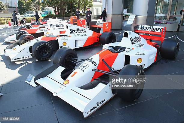 McLaren Honda MP4/7 is displayed in front of the Honda Motor Co. Headquarters on February 10, 2015 in Tokyo, Japan. McLaren Honda MP4/7 featuring V12...