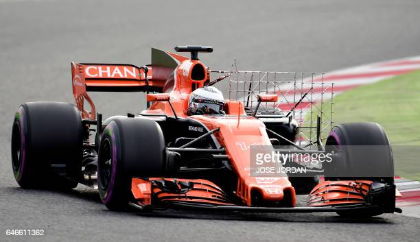 McLaren Honda's Spanish driver Fernando Alonso drives at the Circuit de Catalunya on March 1 2017 in Montmelo on the outskirts of Barcelona during...