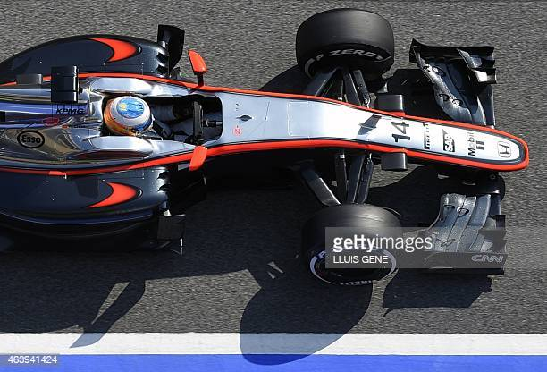 McLaren Honda's Spanish driver Fernando Alonso takes part in the Formula One pre-season second day test at Catalunya's racetrack in Montmelo, near...