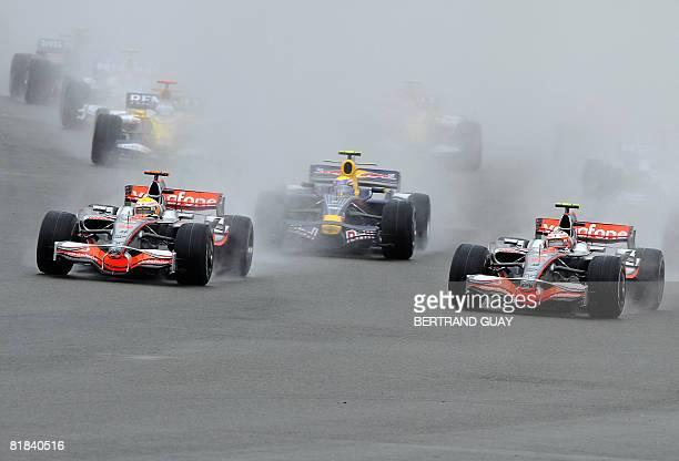 McLaren Mercedes' British driver Lewis Hamilton Red Bull's Australian driver Mark Webber and McLaren Mercedes' Finnish driver Heikki Kovalainen take...